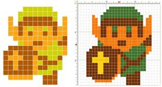 legend of zelda link sprite avatar 8-bit art perler ikea pyssla beads pattern
