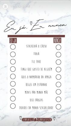 eu:  ja, nunca, ja, ja, ja, ja, ja, ja e ja ç-ç Cute Questions, This Or That Questions, Bring Back Lost Lover, Checklist Template, Tumblr, Instagram Story Template, Quizzes, Instagram Feed, Smudging
