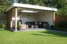 Modern Garden Shed Garden Buildings, Garden Structures, Patio Roof, Backyard Patio, Back Gardens, Outdoor Gardens, Outdoor Rooms, Outdoor Living, Patio Design