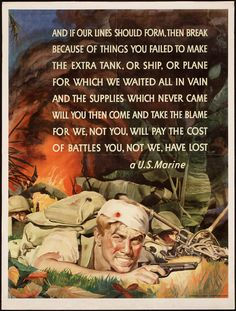 "American WWII poster encouraging production with a poem by ""a U.S. Marine"""