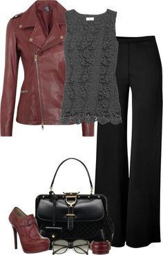 """Leather and Lace (III)"" by partywithgatsby ❤ liked on Polyvore"