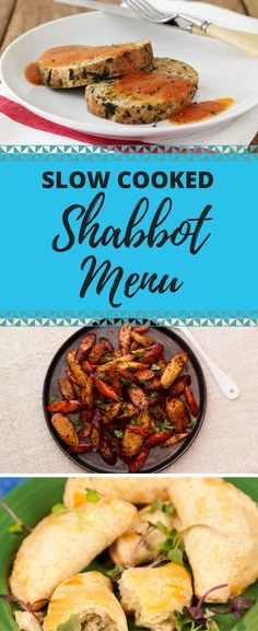 Slow cook your next Shabbat! A fish course, meat course, two side dishes and dessert are on the menu.