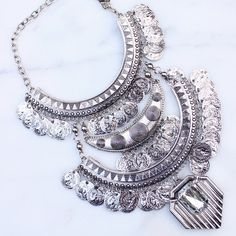 Spotted while shopping on Poshmark: Silver Boho Coin Statement Necklace! #poshmark #fashion #shopping #style #Jewelry