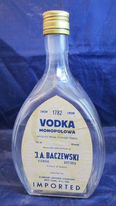 vintage Vodka Monopolowa bottle by JA Baczewski Vienna Austria Austrian… Vintage Bottles, Liquor Bottles, Bottles And Jars, Vodka Bottle, Vienna Austria, Wine Decanter, Barware, Vintage Items, Ebay