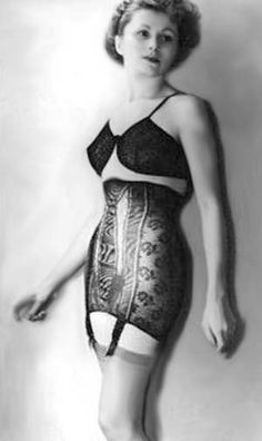 dff728ed73 a vintage photo of an absolutely FABULOUS corset girdle and a very  interesting bra - hmm!