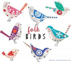 Inspired by the folk art trend, new in the birds series! The bird series have been popular on our website starting with Spring Birds and recently Geometric Birds. Now Folk Birds in time to Watercolor Clipart, Geometric Bird, Art Populaire, Scandinavian Folk Art, Spring Birds, Image Clipart, Art Clipart, Clip Art, Folk Embroidery