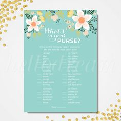Bridal shower games, What's in your purse, purse hunt, Shabby chic shower party, Turquoise bridal shower - SKUHDG09 by hellodreamstudio on Etsy