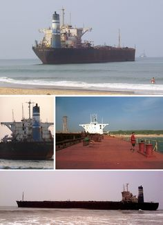 The River Princess run aground in a fierce storm and simply abandoned on Candolim Beach in Goa.