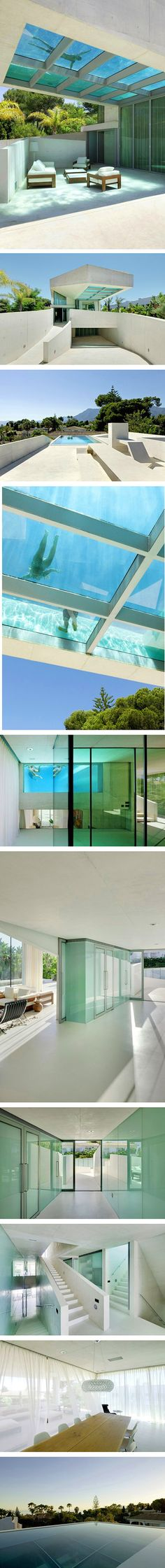 When we think of a private home with a built-in pool, we don't usually picture it on the roof. But the Jellyfish House, located in Marbella on the Mediterranean coast of Spain, features just that. Wiel Arets Architects chose to cantilever the pool from here because neighboring buildings block its view onto the nearby sea. This solution means that the beach is always in sight while sunbathing or swimming.