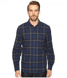 Joe's Jeans - Relaxed Single Pocket Flanel Shirt (Blue/Grey Plaid) Men's Long Sleeve Button Up