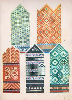 Mittens Pattern, Knit Mittens, Knitting Socks, Hand Knitting, Mitten Gloves, Fair Isle Knitting Patterns, Knitting Charts, Embroidery Patterns, Stitch Patterns