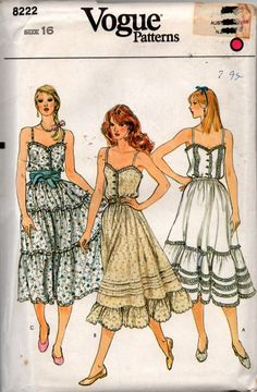 Vogue 8222 Tiered Peasant Skirt & Camisole Top 80s Vintage Sewing Pattern Size 16 Bust 38 inches UNCUT Factory Folded