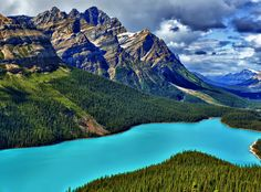 Peto Lake Blue by Jeff Clow. The water at Peyto Lake in Banff National Park is really that magical shade of turquoise...due to glacial silt