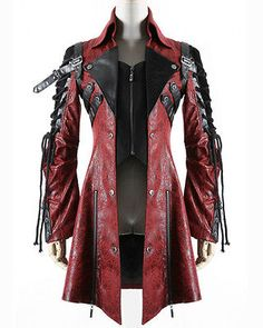 Punk Rave Poison Jacket Mens Red Black Faux Leather Goth Steampunk Military Coat in Clothes, Shoes & Accessories, Men's Clothing, Coats & Jackets Steampunk Mode, Steampunk Outfits, Gothic Outfits, Steampunk Clothing, Gothic Steampunk, Steampunk Jacket, Gothic Clothing, Fashion Male, Gothic Fashion