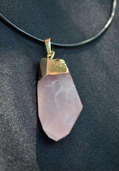 Natural Rose Quartz Crystal Necklace