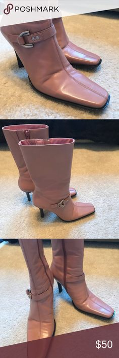 8470352f4e1 Michael Shannon Reese Old Pink Calf Boots Michael Shannon Reese Old Pink  leather Calf Boots with nickel buckle! Pre owned worn only one time.