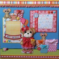 BIRTHDAY-GIRL-Tear-Bear-Paper-Piecing-Premade-Layout-Album-ELITE4U-3paperwishes