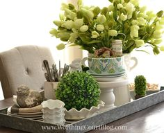 Spring Kitchen Centerpiece In A Galvanized Steel Tray from Worthing Court | Your Turn to Shine Link Party Feature
