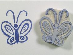 Butterfly Rubber Stamp. Hand carved rubber by ArtfulSunshine
