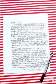 Santa is Real Letter! This is a wonderful letter for parents to give to their children (when they start wondering about Santa). This letter explains how Santa is real and how each and every one of us carries the spirit of Santa with us as we give to those we love and spread Christmas cheer. Free printable - Design Dazzle