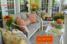 Day Two of Fall Around the House Party....Upper Back Porch Decorated for Fall