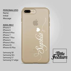 Personalized iPhone Case / Name iphone case / Initial iphone case / personalised Samsung Galaxy phone case Available for iPhone X , iPhone 8 , iPhone 8 plus , iPhone 7 , iPhone 7 plus , iPhone 6 , Samsung Galaxy S8 , S8+ , S7 , S7 Edge by LittleFeature at ETSY Phone Cases Samsung Galaxy, Iphone 8 Plus, Iphone 6, Iphone Cases, Personalized Phone Cases, S7 Edge, Galaxy S8, 6s Plus