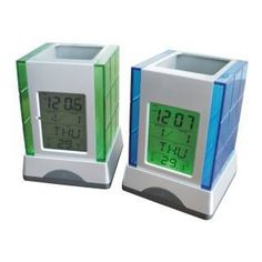 Product Name : pen-holder with seven-color calendar Introduced??? 1. Colorful backlight 2. Clock, temperature display 3. Alarm 4. 12/24 change 5. 2000-2009 Calendar inquiry.