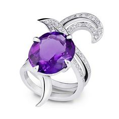 Alexander Davis Deadly Nightshade amethyst and diamond ring in 18ct white gold.