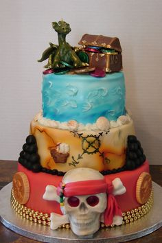 Pirate Skull Cake with a Dragon and gold chest.