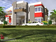 Contact (Calls and Whatsapp) E mail: 5 Bedroom duplex design. Contact (Calls and Whatsapp) E mail: Casa térr. Architect Design House, Duplex Design, House Design, Duplex House Plans, Luxury House Plans, Building Design, Building A House, Architectural House Plans, Beautiful House Plans