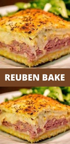 Reuben Bake You'll Need: 2 tubes ounces each) of refrigerated crescent rolls. 1 pound of sliced swiss cheese. pounds of sliced deli corned beef. 1 can ounces) rinsed and drained sauerkraut. cup of Thousand Island salad dressing. Corned Beef Recipes, Meat Recipes, Appetizer Recipes, Cooking Recipes, Meat Appetizers, Recipes Dinner, Recipies, Gourmet Sandwiches, Beef Recipes