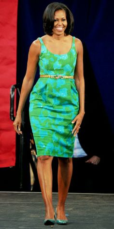 michelle obama off shoulder | think Michelle Obama's arms are lengthening. If you use her skull as ...