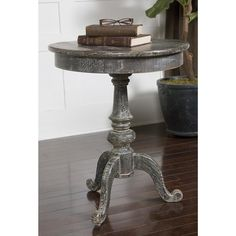 Distressed and weathered, reclaimed fir wood with dusty charcoal finish and whitewash glaze make this side table an amazing home decor addition.