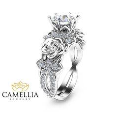 14K Weissgold Moissanite Verlobungsring von CamelliaJewelry auf Etsy