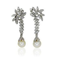 Diamond Pearls Earring Akoja Pearls Diamant-Perlen Ohrhänger besetzt mit 1,249ct Diamanten und Akoja Perle
