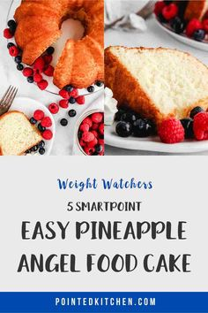 This 3 ingredient Pineapple Angel Food Cake is just 5 SmartPoints per portion on all of the Weight Watchers plans. An easy, delicious WW dessert recipe. Weight Watchers Pasta, Weight Watcher Cookies, Weight Watchers Desserts, Ww Desserts, Dessert Recipes, Ww Recipes, Cookie Recipes, Pineapple Angel Food, Sugar Free Pudding