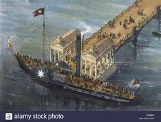 A Thames paddle-steamer  at Gravesend, Kent.        Date: circa 1825 Stock Photo