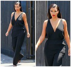 Kim Kardashian is wearing a Valentino jumpsuit with Tom Ford heels