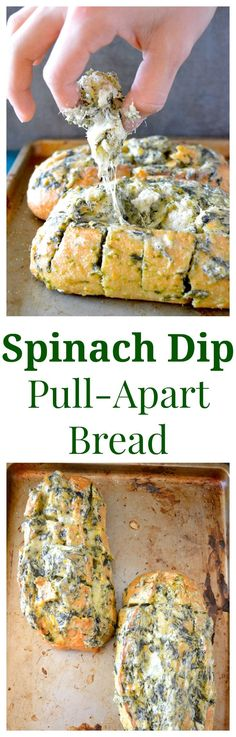 A simple gooey, cheesy spinach dip is stuffed between the cracks of French bread and popped in the oven! Slightly messy, extremely delicious, and very very easy.