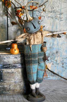 Prominent Folk Artist's Trinkets and Treasures Market Place Primitive Scarecrows, Primitive Halloween Decor, Primitive Pumpkin, Halloween Home Decor, Primitive Crafts, Halloween Projects, Halloween Decorations, Primitive Christmas, Halloween Doll