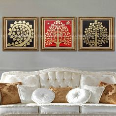 Gold Xinwang canvas Southeast Asian style Thai gold foil painting decorative painting gold Bergamot lotus Talisman