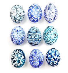 Masking fluid & watercolors & acrylic ink Easter Eggs - Alisa Burke