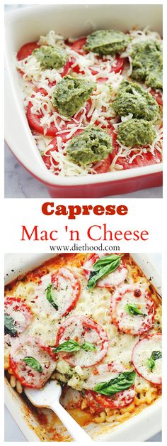 {Italy} Caprese Macaroni and Cheese | www.diethood.com | Creamy and delicious Macaroni and Cheese made with a mozzarella cheese-sauce, basil pesto, and fresh tomatoes. | #pasta #macaroniandcheese