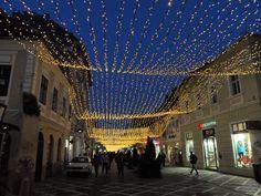 #Christmas lights in Sfatului #Square, #Brasov, #Romania #winter #snow #travel #wanderlust