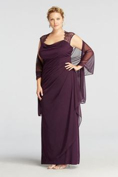 Elegant and ultra sophisticated, you will look like a knock out in this luxurious jersey dress! Cap sleeve bodice and open back create an eye-catching and on trend look. Lace detail adds an ultra-feminine touch to this already magnificent ensemble. Long jersey skirt adds dimension and creates an elongated silhouette. Comes with matching chiffon shawl. Fully lined. Back zip. Imported polyester. Dry clean. Available in Missy sizes as Style XS2195. Available in Petite sizes as Style XS219...