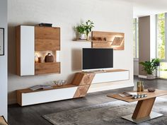 - TV Unit Models & Ideas - Wohnwand Valmondo Talvera Finish Asteiche bianco brushed / oiled Front accents in glass satined whit. Furniture, Living Room Tv Unit, Interior, Tv Unit Furniture, Bedroom Interior, House Interior, Wall Unit, Living Room Designs, Living Room Tv