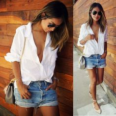 Street Style White Blouse Casual Long Sleeve V-Neck