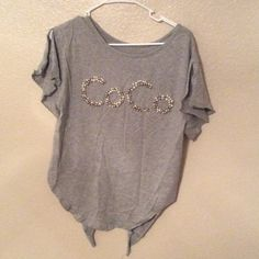 "COCO T-shirt!!!! Super cute T-shirt! ""COCO"" letter with plastic pearl! Very unique shirt! Never worn it! You can tie back of shirts( see 3rd picture) ! Tops Tees - Short Sleeve"