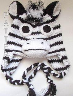 d8f70199389ad Knitting Pattern Zebra Hat Horse Hat Character Hat Animal Hat Beanie Hat  Novelty Hat