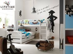 Lifetime kinderkamer / kidsrooms kinderbed halfhoogslaper piratenbed, basisbed met slaaplade Kapitein op de muur, zwaard,piratendekbed...